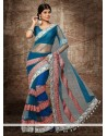 Awesome Blue Net Designer Saree