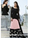 Black And Pink Georgette And Satin Anarkali Suit
