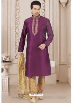 Purple Art Banarasi Silk Embroidered Kurta Pajama