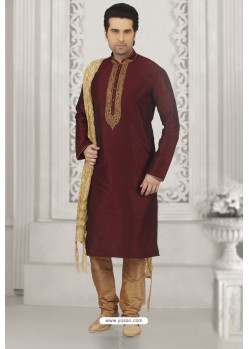 Elegant Wine Art Banarasi Silk Embroidered Kurta Pajama