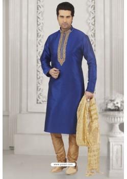 Perfect Royal Blue Art Banarasi Silk Embroidered Kurta Pajama