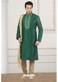 Modern Dark Green Art Banarasi Silk Embroidered Kurta Pajama