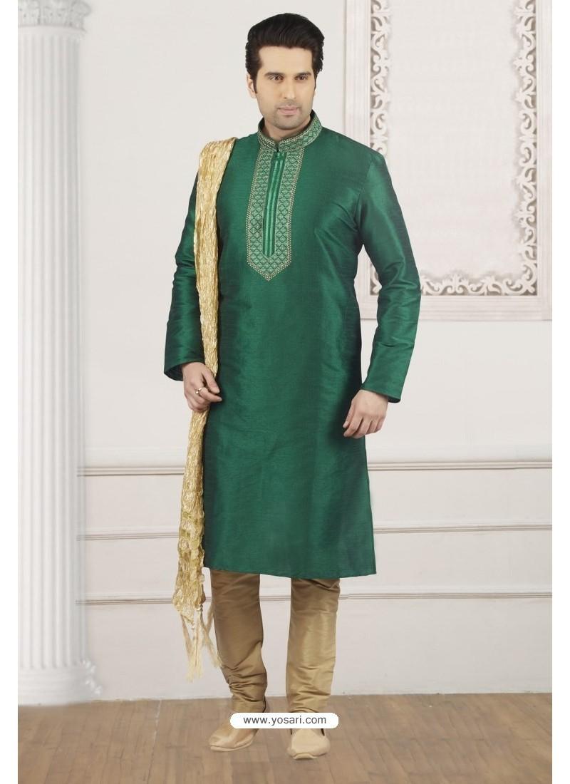 f0e29ad901 Buy Modern Dark Green Art Banarasi Silk Embroidered Kurta Pajama ...