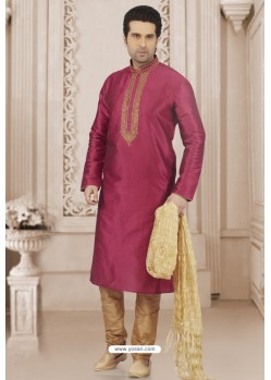 Medium Violet Art Banarasi Silk Embroidered Kurta Pajama