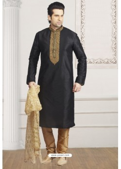 Charming Black Art Banarasi Silk Embroidered Kurta Pajama