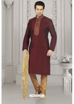 Maroon Art Banarasi Silk Embroidered Kurta Pajama