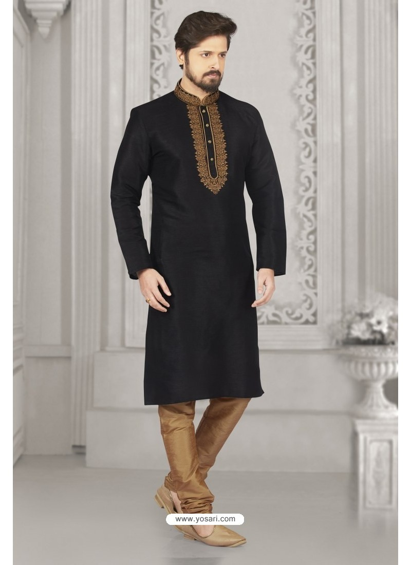 Black Art Banarasi Silk Embroidered Kurta Pajama
