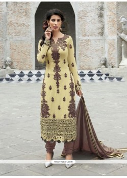 Stylish Cream And Brown Resham Wok Churidar Suit