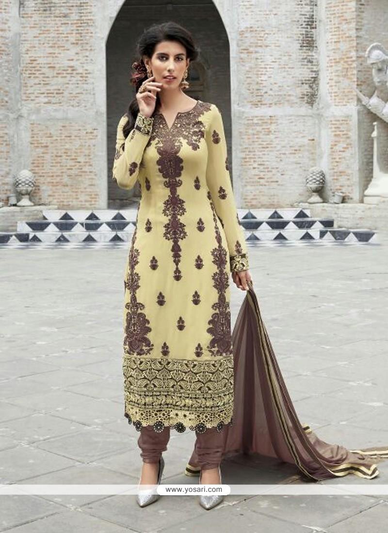Stylish Cream And Brown Resham Wok Churidar Suit