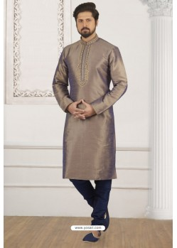 Light Brown And Blue Art Banarasi Silk Embroidered Kurta Pajama