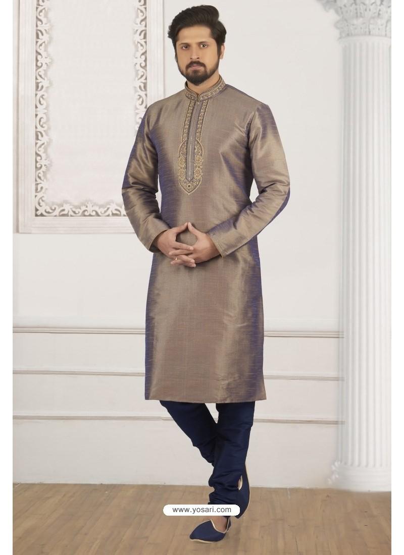 bdce1a4aee Buy Light Brown And Blue Art Banarasi Silk Embroidered Kurta Pajama ...