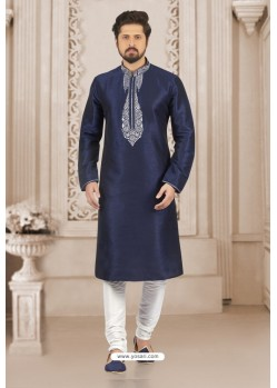 Attractive Navy Blue Art Banarasi Silk Embroidered Kurta Pajama