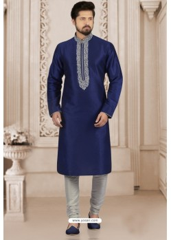 Genius Navy Blue Art Banarasi Silk Embroidered Kurta Pajama
