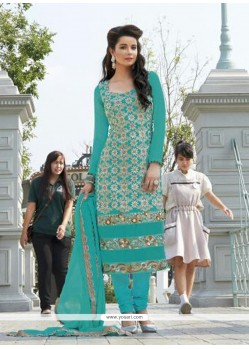 Fabulous Turquoise Blue Georgette Churidar Suit