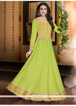 Karishma Kapoor Green Georgette Anarkali Suit