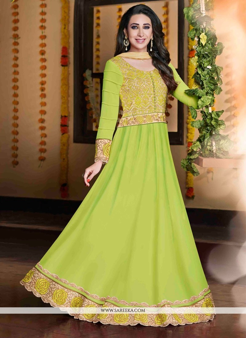 Karishma Kapoor Green Georgette Anarkali Suit