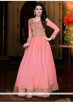 Karishma Kapoor Pink Lace Work Anarkali Suit
