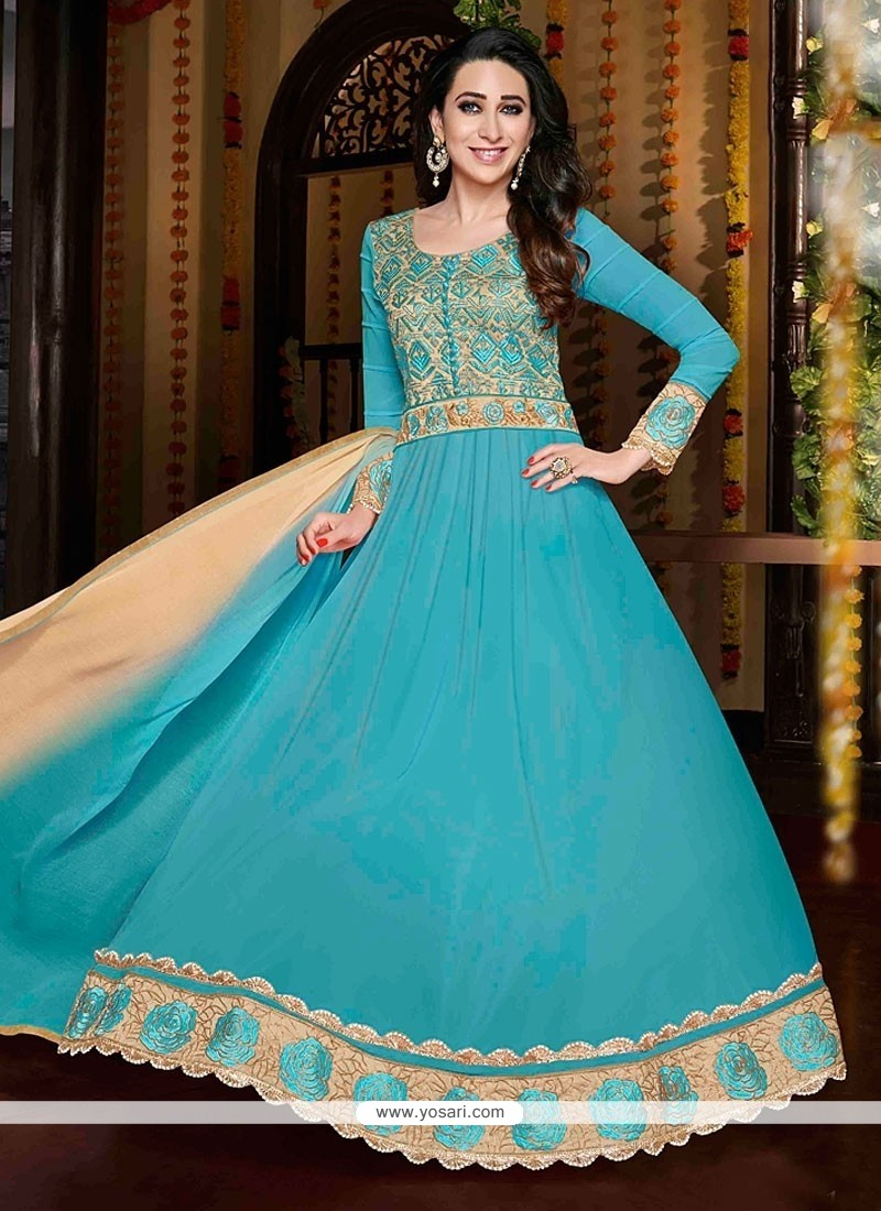Karishma Kapoor Blue Resham Work Anarkali Suit