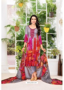 Multi Colour Pure Jam Satin Embroidered Straight Suit