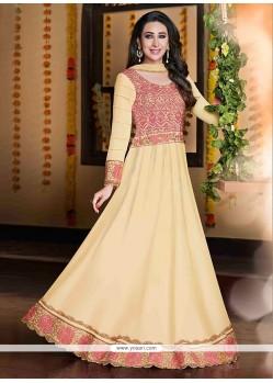 Karishma Kapoor Cream Georgette Anarkali Suit