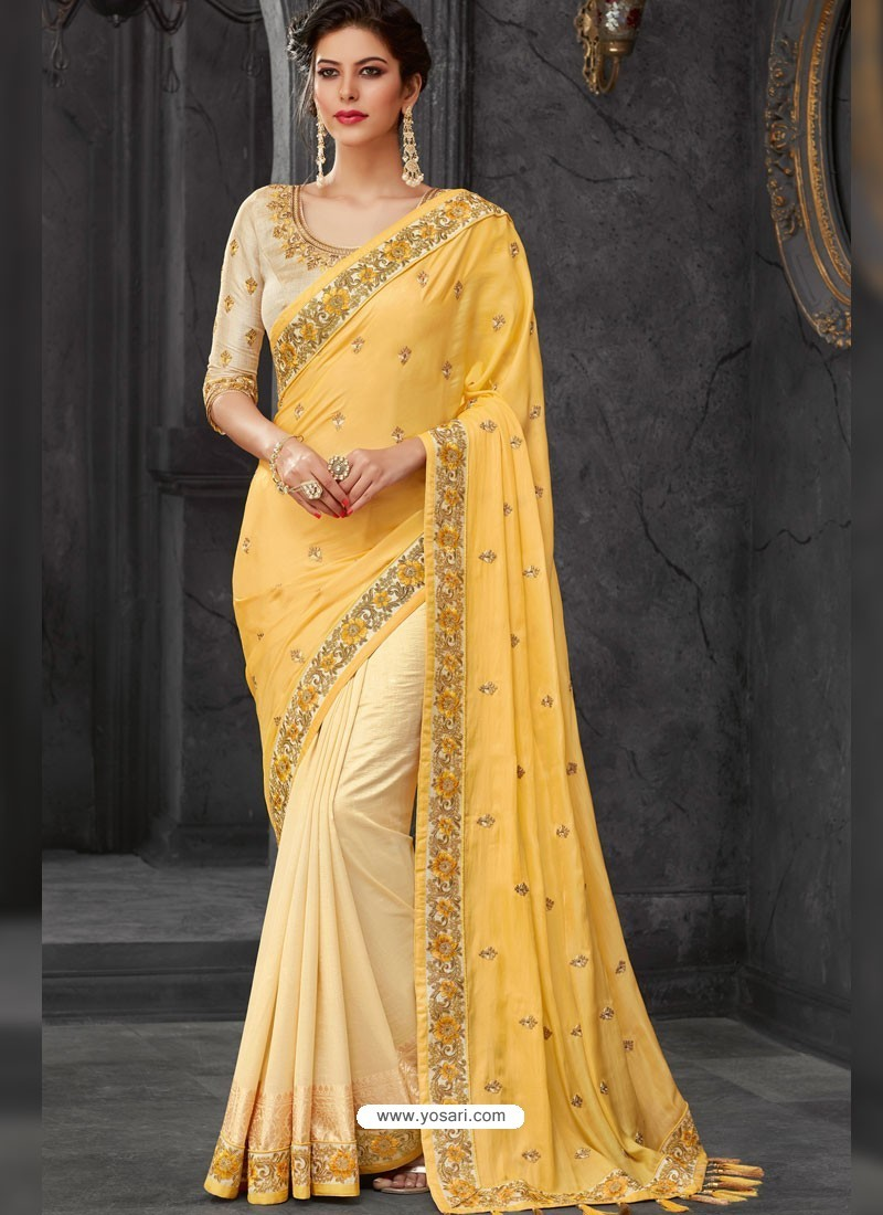 ff70e7721d Buy Yellow Silk Border Embroidered Designer Party Wear Saree | Party ...