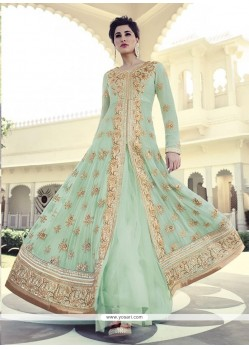 Nargis Fakhri Sea Green Faux Georgette Anarkali Suit