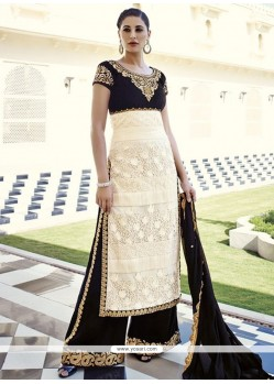 Nargis Fakhri Black And Cream Net Palazzo Salwar Suit