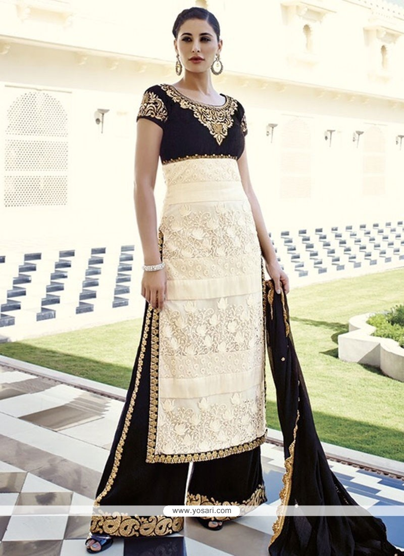 Nargis Fakhri Black And Cream Net Palazzo Salwar Suit