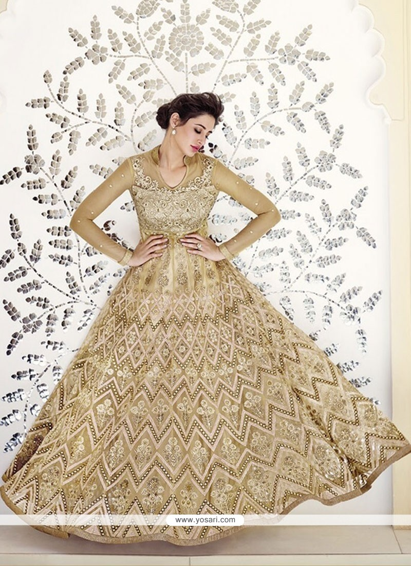 Nargis Fakhri Beige Net Designer Anarkali Suit