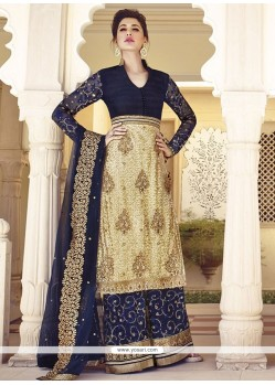 Nargis Fakhri Beige And Blue Net Palazzo Suit