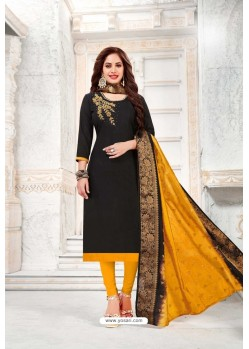 Black And Yellow Cotton South Slub Embroidered Straight Suit