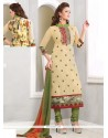 Classy Cream Georgette Printed Churidar Suit