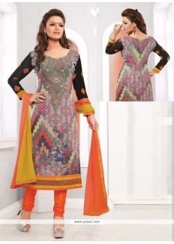 Dazzling Multicolor Georgette Printed Churidar Suit