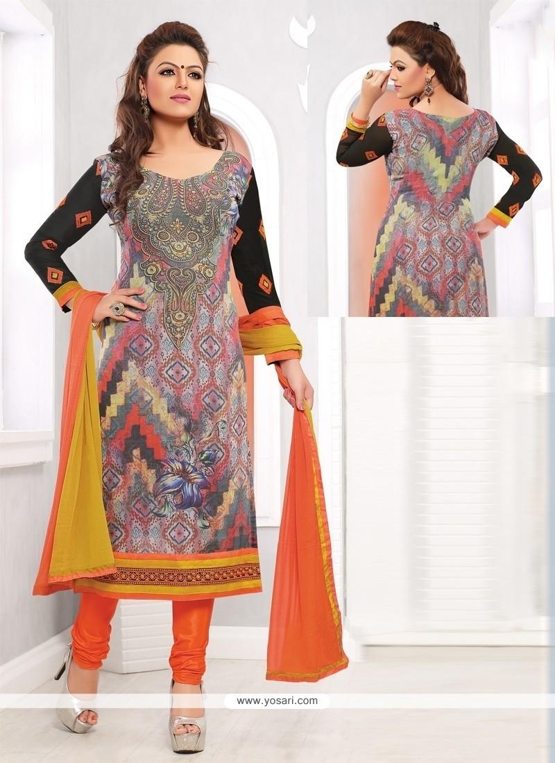 Dazzling Multicolor Georgette Printed Churidar Suit