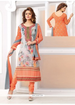 Charming Peach Georgette Churidar Salwar Kameez