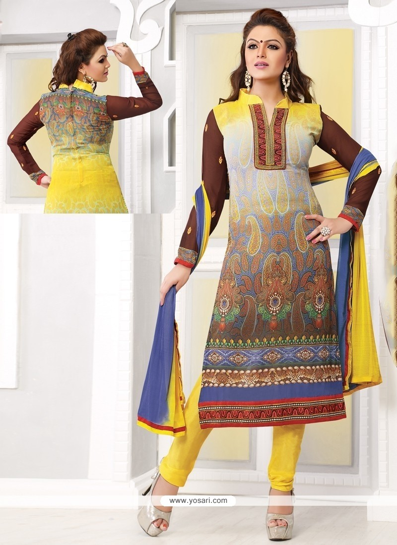 Yellow And Grey Shaded Georgette Churidar Suit