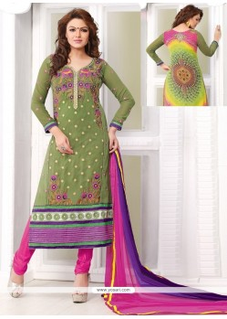 Ombre Green Georgette Churidar Salwar Kameez