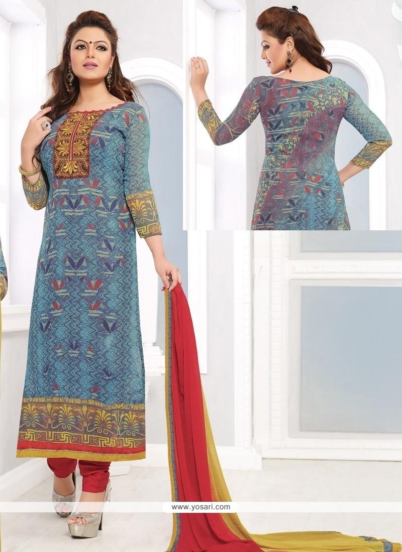 Tantalizing Blue Georgette Churidar Salwar Kameez