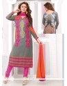 Simplistic Grey Embroidery Work Georgette Churidar Suit