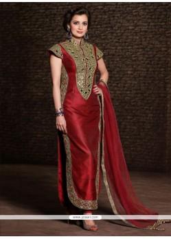 Diya Mirza Maroon Banarasi Silk Churidar Suit