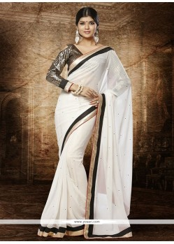 Fab Off White Faux Georgette Designer Saree