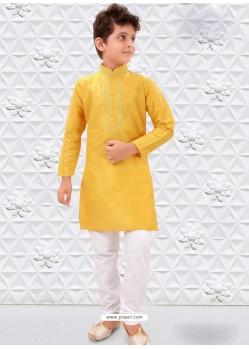 Yellow Silk Kurta Pajama