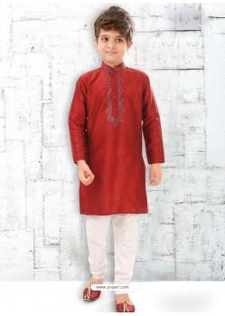 Maroon Silk Kurta Pajama