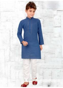Dark Blue Cotton Kurta Pajama