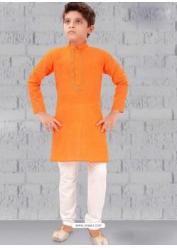 Orange Cotton Kurta Pajama