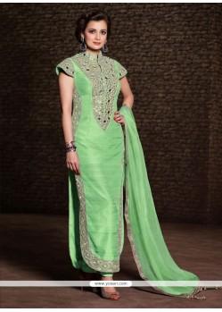 Diya Mirza Green Banarasi Silk Churidar Salwar Suit