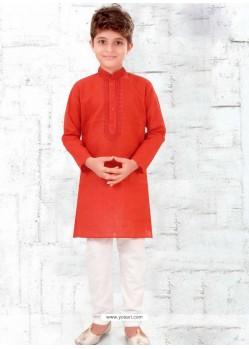 Tomato Red Cotton Kurta Pajama