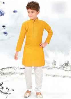 Yellow Cotton Kurta Pajama
