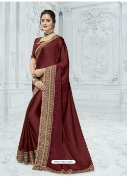 Maroon Two Tone Chiffon Pattern Heavy Embroidered Designer Saree