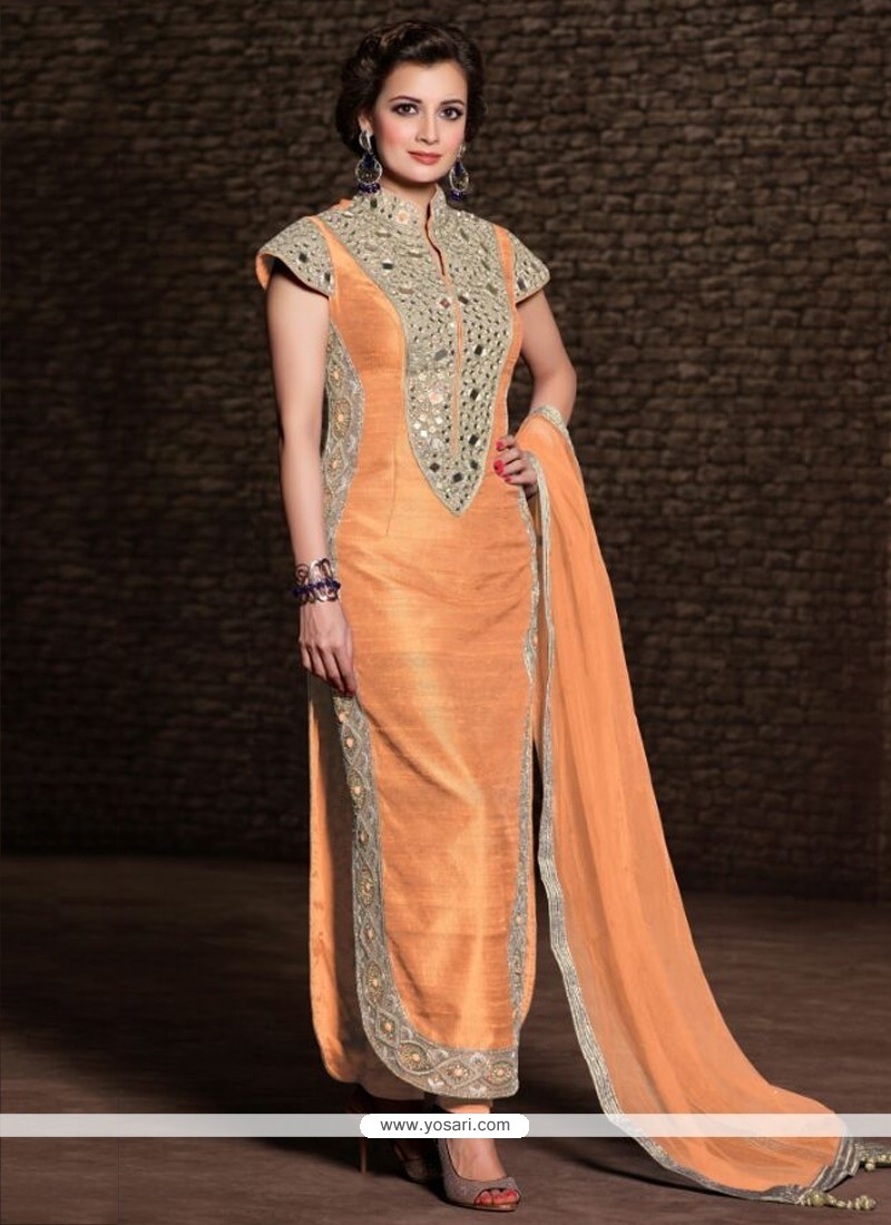Diya Mirza Peach Banarasi Silk Churidar Suit